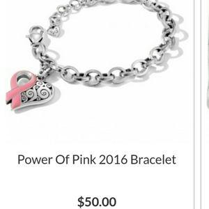 Power of Pink Ribbon Heart Charm Link Bracelet